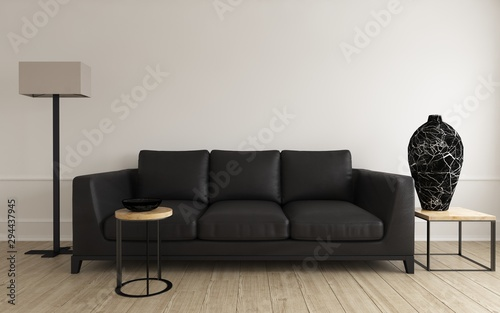 Obraz Comfortable modern black leather sofa with vase - fototapety do salonu