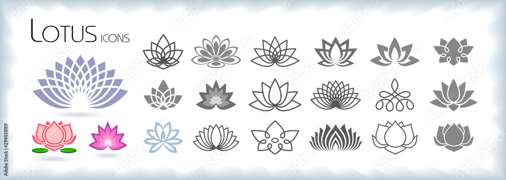 Fototapeta Collection of lotus icons with different styles
