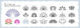 Fototapeta Kwiaty - Collection of lotus icons with different styles