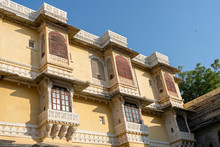 Detail Of Architecture, Decorated Facade In Udaipur, Rajasthan, India