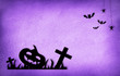 canvas print picture - Halloween card with motifs in black and lilack background
