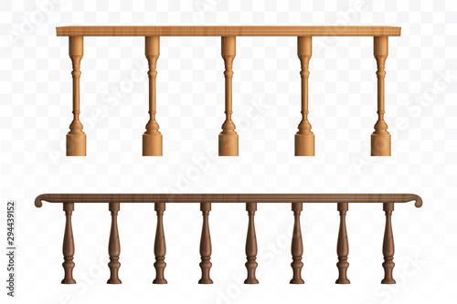 Photo Wooden balustrade, balcony railing or handrails set