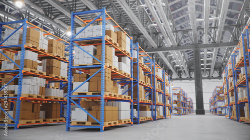 Obraz Warehouse with cardboard boxes inside on pallets racks, logistic center. Huge, large modern warehouse. Warehouse filled with cardboard boxes on shelves, boxes stand on pallets, 3D Illustration - fototapety do salonu