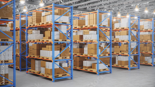 Photo Warehouse with cardboard boxes inside on pallets racks, logistic center
