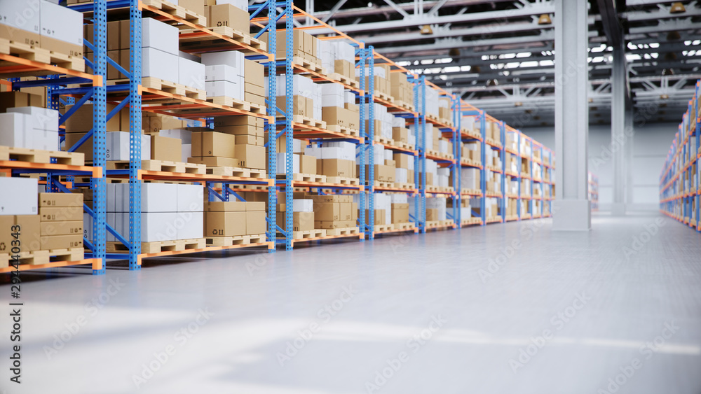 Fototapety, obrazy: Warehouse with cardboard boxes inside on pallets racks, logistic center. Huge, large modern warehouse. Warehouse filled with cardboard boxes on shelves, boxes stand on pallets, 3D Illustration