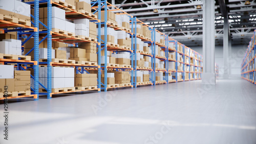 Fotomural Warehouse with cardboard boxes inside on pallets racks, logistic center