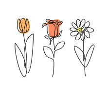Continued Line Doodle Of Three Flowers