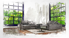 Contemporary, Bright Apartment Living Area Render