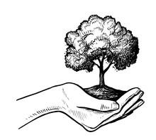Girls Holding Tree Earth Illustration