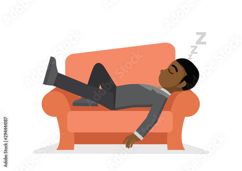 Obraz African businessman taking a nap on sofa. - fototapety do salonu