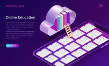 Online Education Isometric Concept Vector Illustration. Open Books On Mobile Phone Screen And Cloud With Library On Violet Background, Landing Web Site Page For Educational Or Language Courses