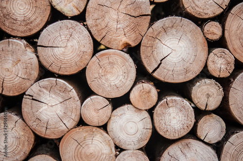 Printed kitchen splashbacks Firewood texture Pile of wood logs stumps for winter