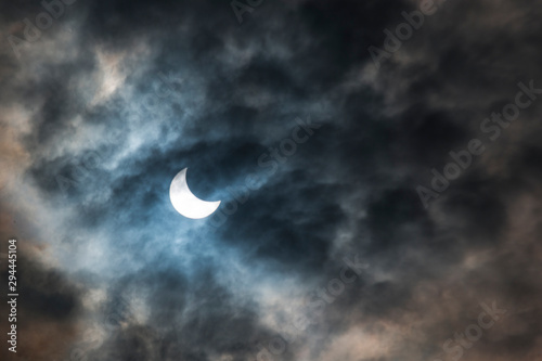 Eclipse in the fire and smoke Wallpaper Mural
