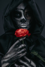Female Death With Red Flower