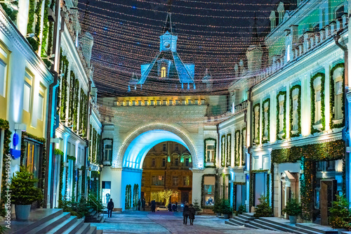 Russia. Christmas in Moscow. Decorations of Moscow for the new year. Christmas celebrations in Moscow. Garland over the pedestrian street. Travel to the Russian capital. Festive street decoration.