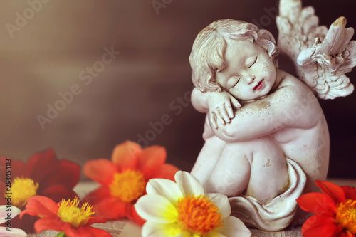 Photo Close up of guardian angel and dahlia flowers