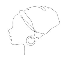 African Woman Face Silhouette In National Headdress Icon. Logo Outline Illustration Of Pretty Girl.
