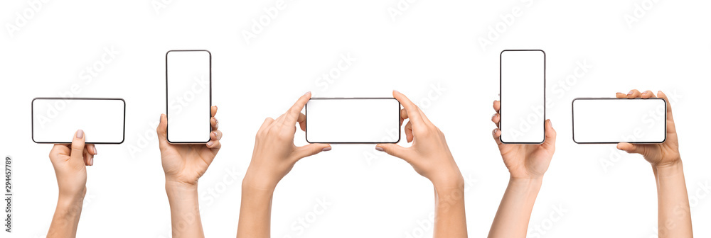 Fototapeta Set of female hands holding smartphone with blank screen