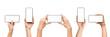 Leinwanddruck Bild - Set of female hands holding smartphone with blank screen