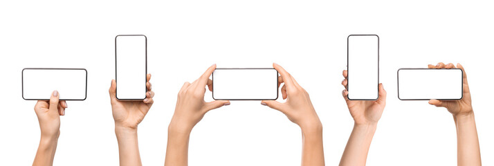 Set of female hands holding smartphone with blank screen
