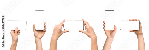 Fotomural  Set of female hands holding smartphone with blank screen