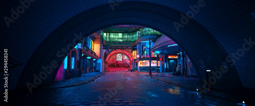 Street of a futuristic city, starting with an arch in a tunnel Fototapete