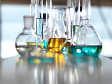 Chemical Research, A Range Of Chemical Formulas Being Developed In The Laboratory For Research Into New Products