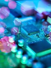 Fiber Optics Carrying Data Passing Across Electronic Circuit Board