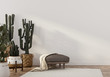 canvas print picture Boho-style interior with leather pouf and cacti