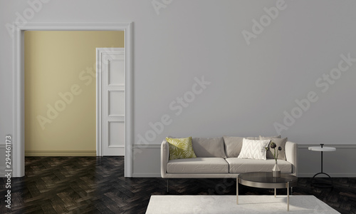 Living room with beige sofa and yellow wall of another room Canvas-taulu