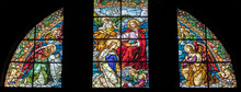 ARCO, ITALY - JUNE 8, 2018: The Annunciation In The Stained Glass  In The Church Chiesa Collegiata Dell'Assunta.