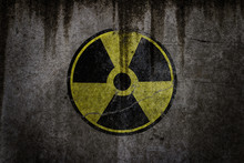 Radiation Hazard Sign Radiation Warning Sign On Black Background - Grunge Radioactive