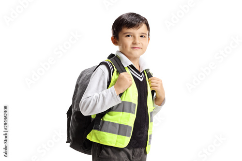 obraz lub plakat Little boy with backpack and safety vest