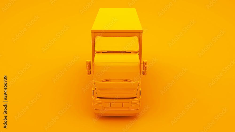Fotografía  Yellow Truck isolated on yellow background. 3d Illustration