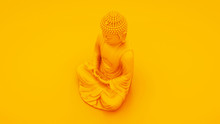 Yellow Buddha Statue Isolated On Yellow Background. 3d Illustration