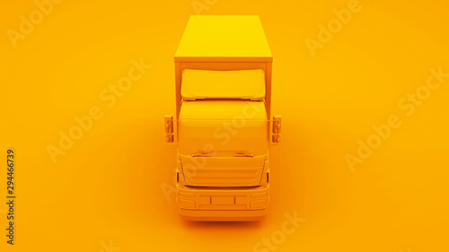 Pinturas sobre lienzo  Yellow Truck isolated on yellow background. 3d Illustration