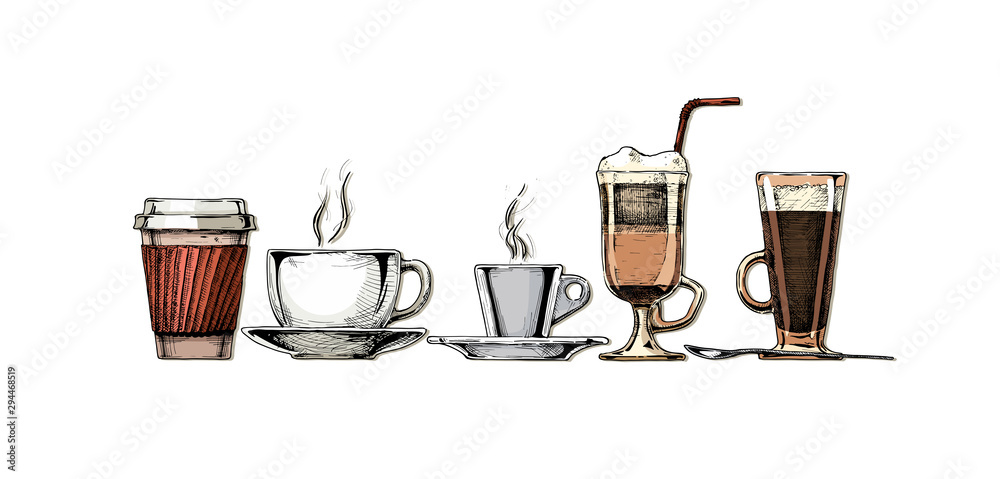Fototapety, obrazy: Vintage illustration of coffee set.