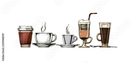Fototapeta  Vintage illustration of coffee set.