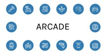 Set Of Arcade Icons Such As Co...