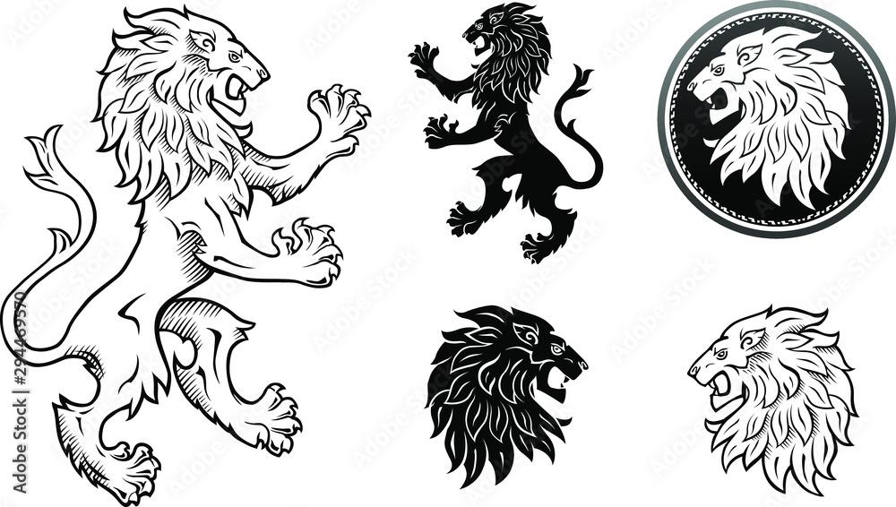 Fototapeta Black & White Lion Emblem and Lions Head