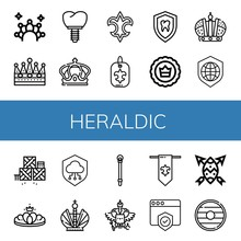 Set Of Heraldic Icons Such As Crown, Fleur De Lis, Shield, Defense, Sceptre, Coat Of Arms , Heraldic