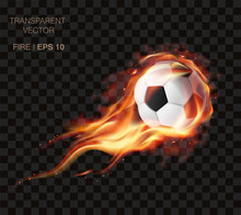 Realistic Vector Soccer Ball On Fire And  Logo For Football Club, Badge Template