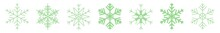 Snowflake Icon Green | Snowflakes | Ice Crystal Winter Symbol | Christmas Logo | Xmas Sign | Variations