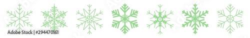 Fototapeta Snowflake Icon Green | Snowflakes | Ice Crystal Winter Symbol | Christmas Logo | Xmas Sign | Variations obraz