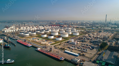 Cuadros en Lienzo Oil refinery plant from industry zone, Aerial view oil and gas industrial, Refin
