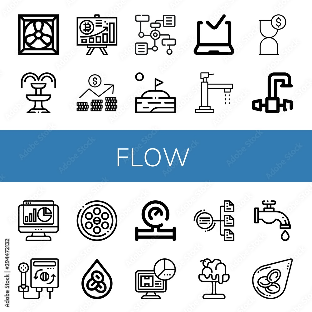 Fototapety, obrazy: Set of flow icons such as Cooling system, Fountain, Diagram, Graph, Lake, Approved delivery, Faucet, Hourglass, Statistics, Heater, Drainage, Erythrocytes, Water meter , flow
