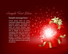 Open Gift Box With Surpise And...
