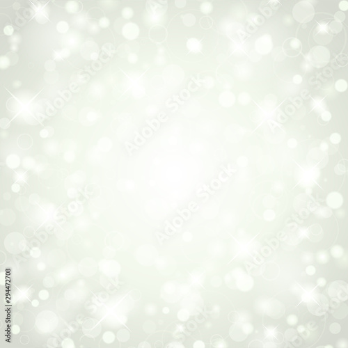 Fototapeta Christmas white glitter lights background of bright glow magic bokeh and place for text vector illustration obraz na płótnie