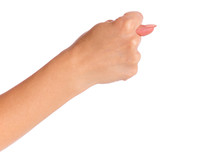 Female Hand Shows Fig Gesture,...