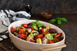Oven Roasted Vegetables: zucchini, eggplant, tomatoes, paprika. Ratatouille is a rustic dish of vegetables.